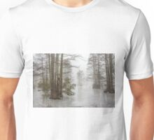 Frozen Cypress Swamp in Fog Unisex T-Shirt