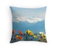 Swiss Flowers Throw Pillow