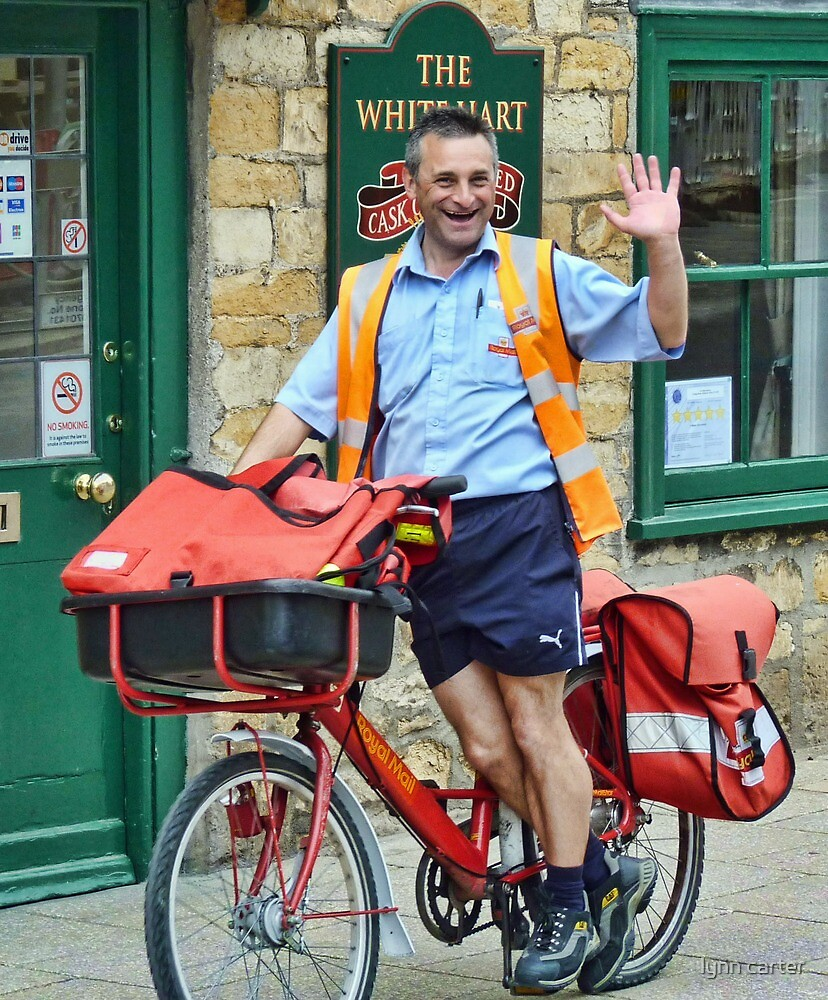 Cheeky, Happy Postie at work in Sherbourne by lynn carter