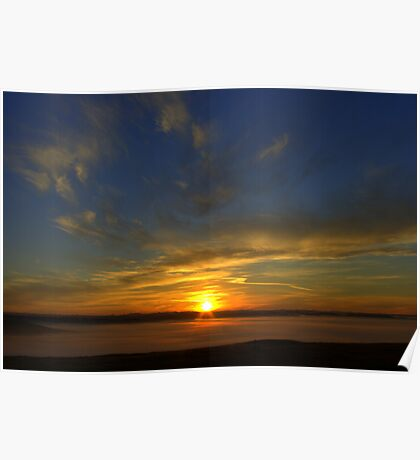 Misty valley sunrise Poster