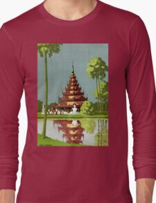Calcutta Vintage Travel Poster Restored Long Sleeve T-Shirt