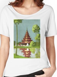 Calcutta Vintage Travel Poster Restored Women's Relaxed Fit T-Shirt