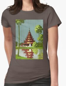 Calcutta Vintage Travel Poster Restored Womens Fitted T-Shirt