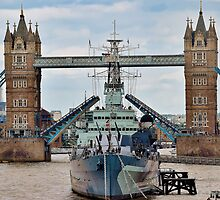 HMS Belfast - Tower Bridge - London by InterestingImag