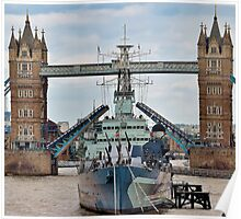 HMS Belfast - Tower Bridge - London Poster