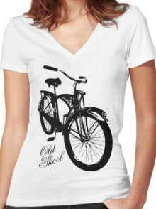 Old Skool Bicycle Women's Fitted V-Neck T-Shirt