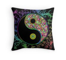 Yin Yang Bamboo Psychedelic Throw Pillow
