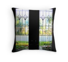 View Through the Glass French Doors Throw Pillow