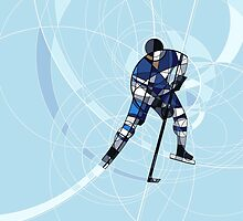 ICE HOCKEY PLAYER IN BLUE AND WHITE DRESS by KongoBongo