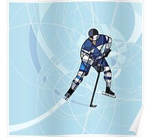 ICE HOCKEY PLAYER IN BLUE AND WHITE DRESS Poster