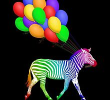 Rainbow Party Zebra - Now with Balloons! by DebiDalio
