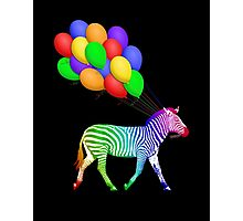 Rainbow Party Zebra - Now with Balloons! Photographic Print