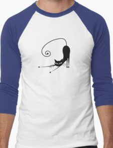Black cat silhouette Men's Baseball ¾ T-Shirt