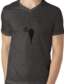 Black cat silhouette Mens V-Neck T-Shirt
