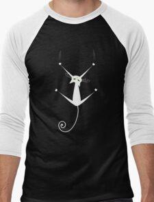 White cat silhouette Men's Baseball ¾ T-Shirt
