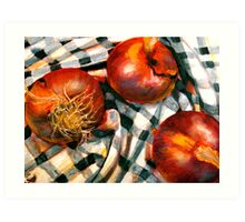 Black and White and Red Onions Art Print