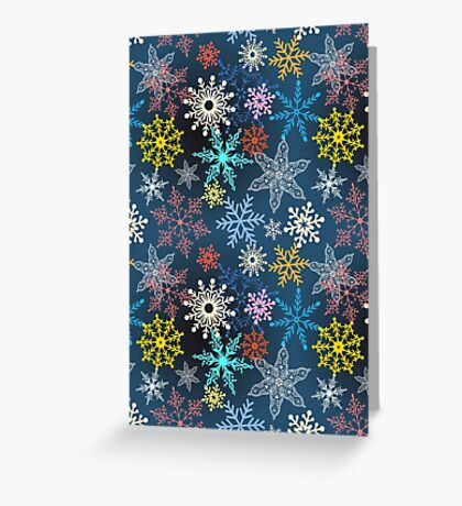 multi-colored snowflakes Greeting Card