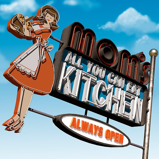 Mom's Kitchen Retro Neon Sign by Anthony Ross