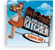 Mom's Kitchen Retro Neon Sign Canvas Print
