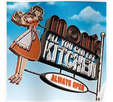 Mom's Kitchen Retro Neon Sign Poster