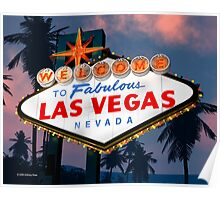 Fabulous Las Vegas Sign Night Version Retro Neon  Poster