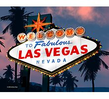 Fabulous Las Vegas Sign Night Version Retro Neon  Photographic Print