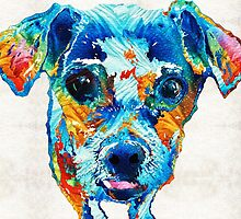Colorful Little Dog Pop Art by Sharon Cummings by Sharon Cummings