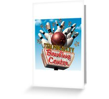 Ten Pin Alley Retro Bowling Neon Sign Greeting Card