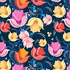pattern of flowers tulips by Tanor