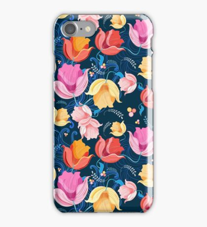 pattern of flowers tulips iPhone Case/Skin