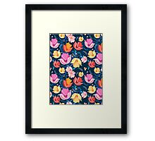 pattern of flowers tulips Framed Print