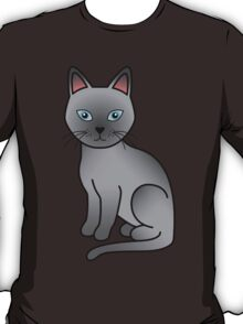 Blue Cartoon Tonkinese Cat T-Shirt