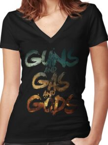 Guns and Gas and Gods Women's Fitted V-Neck T-Shirt