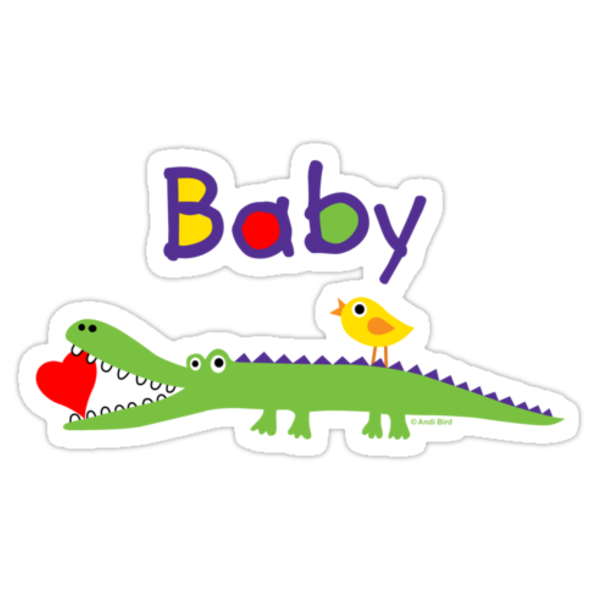 crocodile heart and chick for baby & kids by Andi Bird