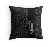 1920s Jazz Deco Swing Monogram black & silver letter W Throw Pillow
