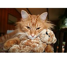 Orange Tabby Cat with His Stuffed Buddy Photographic Print