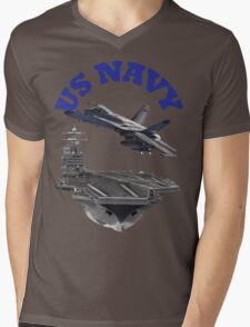 F/A-18 Hornet and the USS Harry S. Truman Mens V-Neck T-Shirt