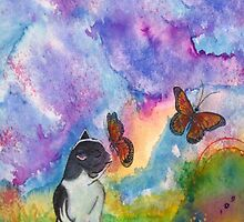 Cat & Monarchs by ArtByMark1