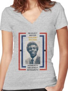 Re-elect Mayor Goldie Wilson Women's Fitted V-Neck T-Shirt