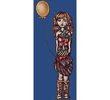 Cute Punk Cartoon of Girl Holding Yellow Balloon  Photographic Print