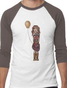 Cute Punk Cartoon of Girl Holding Yellow Balloon  Men's Baseball ¾ T-Shirt