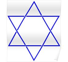 Star of David - blue and fine Poster