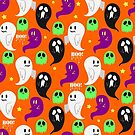 Cute Orange Ghost Pattern by SaradaBoru