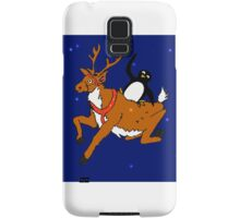 Penguin flying with reindeer Samsung Galaxy Case/Skin