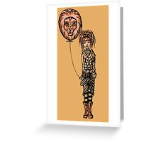 Cute Punk Cartoon of Girl Holding Lion Balloon  Greeting Card