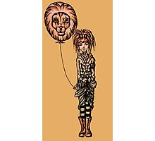 Cute Punk Cartoon of Girl Holding Lion Balloon  Photographic Print