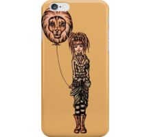 Cute Punk Cartoon of Girl Holding Lion Balloon  iPhone Case/Skin