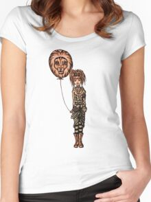 Cute Punk Cartoon of Girl Holding Lion Balloon  Women's Fitted Scoop T-Shirt