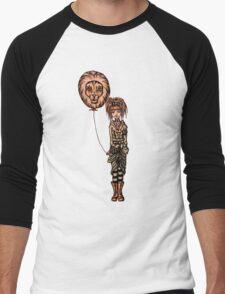 Cute Punk Cartoon of Girl Holding Lion Balloon  Men's Baseball ¾ T-Shirt