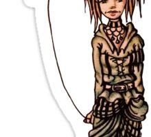 Cute Punk Cartoon of Girl Holding Lion Balloon  Sticker